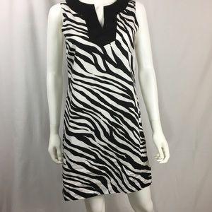 Michael Kors Linen Shift Dress zebra size 6